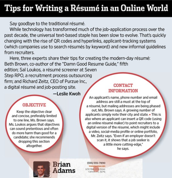tips for writing a resume in an online world