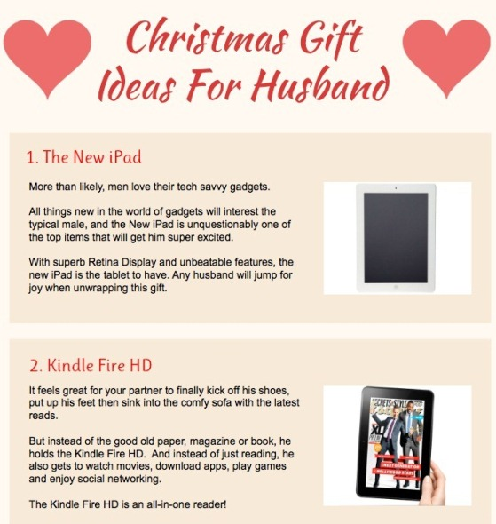 Christmas Ideas For Husband: Top 5 Christmas Gift Ideas Infographics