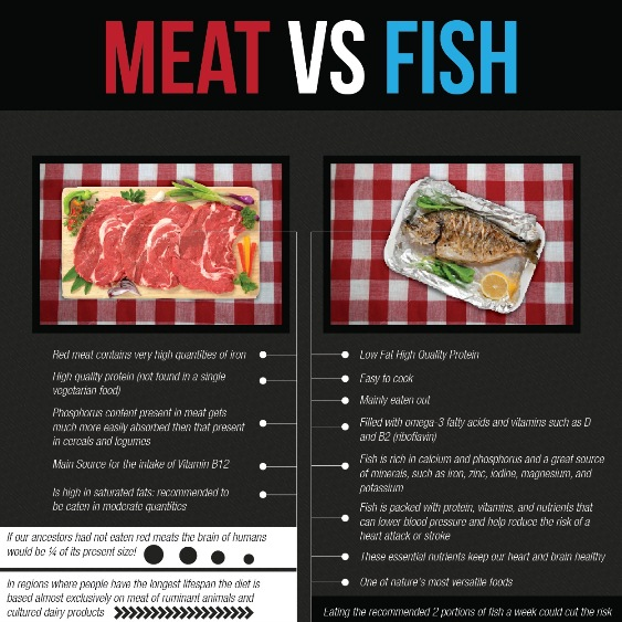meat vs fish infographic
