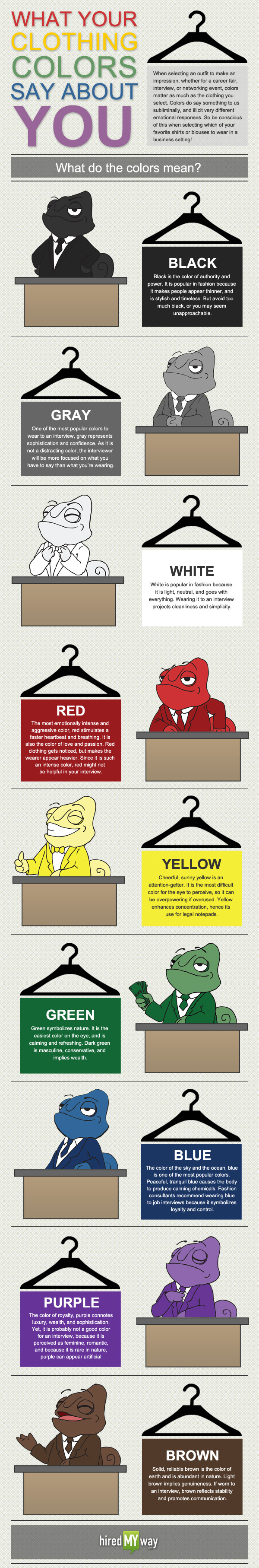 what your clothing colors say about you infographic. Black Bedroom Furniture Sets. Home Design Ideas