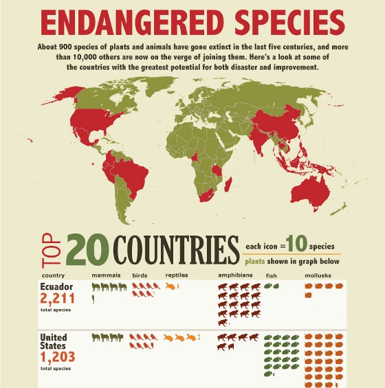 endangered species – top 20 countries 1